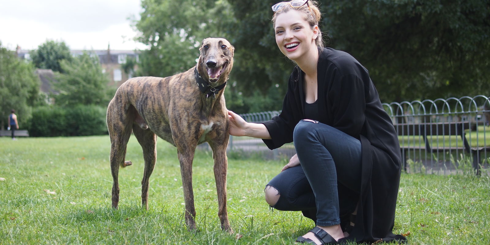 Estee and her greyhound Reggie